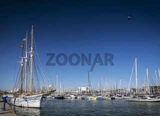 urban marina and boats in port vell area of barcelona spain