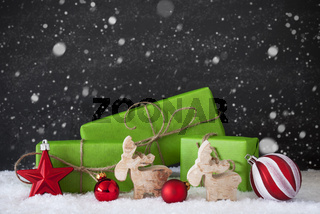 Red And Green Christmas Decoration, Snow, Black Cement Wall, Snowflakes