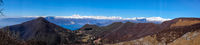 panorama on the Alps and Lake Maggiore from the Lombard pre-Alps, valley of woods and small villages