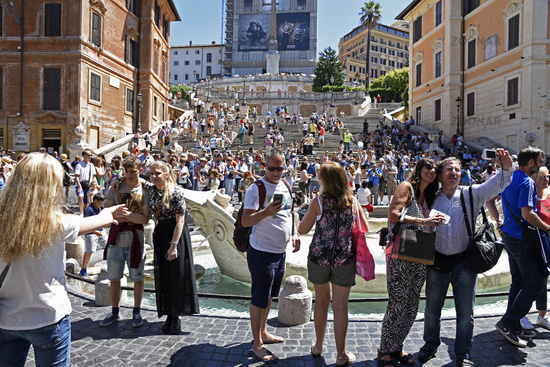 Tourists, fountain, Spanish Steps, Piazza di Spagna square, Rome, Italy, Europe