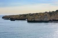 Atlantic rocky coast view (Albufeira, Algarve, Portugal).
