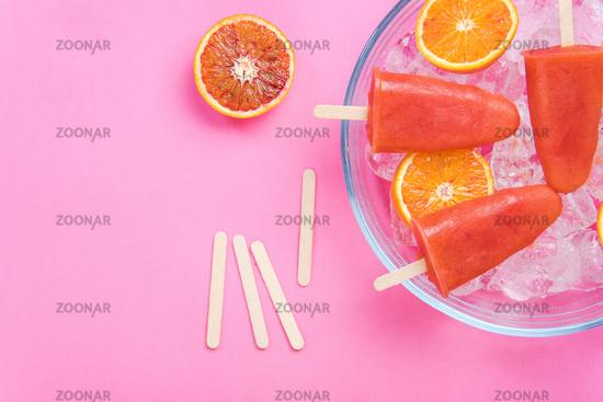 Blood orange homemade popsicles
