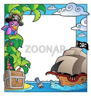 Frame with sea and pirate theme 1 - color illustration.