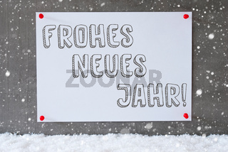 Label On Cement Wall, Snowflakes, Neues Jahr Means New Year