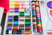 Sewing kit with colored spools