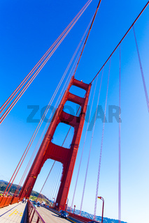 Angled Golden Gate Bridge Tower Deck Blue Sky