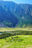 View of the valley of Altai river Chulyshman from the slope of mount