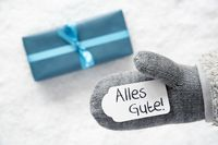 Turquoise Gift, Glove, Alles Gute Means Best Wishes