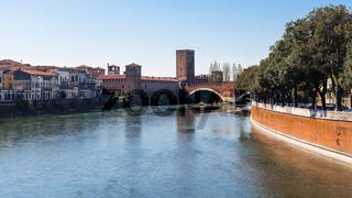 view of Adige river with Castelvecchio in Verona