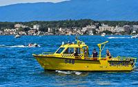 Speedboat of the Swiss coastguard association Belotte-Bellerive on Lake Geneva, Switzerland