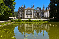 Reflection pool and castle, Mateus Palace, Palacio de Mateus, Mateus, Vila Real, Portugal