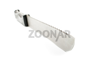 Big knife with black handle on a white background