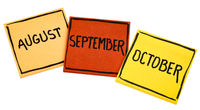 August, September and October on sticky notes