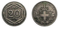 twenty 20 cents Lire Silver Coin 1919 Exagon Crown Savoy Shield Vittorio Emanuele III Kingdom of Italy