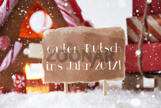 Gingerbread House, Sled, Snowflakes, Guten Rutsch 2017 Means New Year