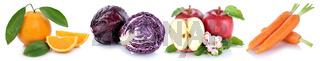 Obst und Gemüse Früchte Apfel Karotten Möhren frische Freisteller freigestellt isoliert in einer Reihe