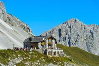 Mountain hut Carschinahütte, peak Wiss Platte behind, Rätikon, St. Antönien, Prättigau, Switzerland