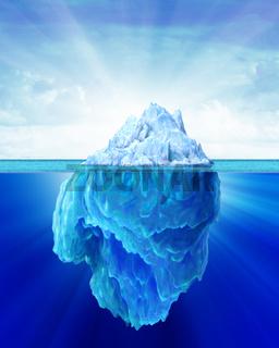Iceberg solitary in the sea.