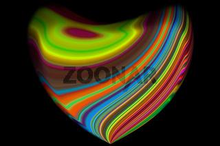 Abstrakt gebogenes Herz mit farbigen Streifen