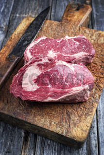 Dry Aged Entrecote Steak on old Cutting Board