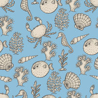 Hand drawn sea life illustration. Sketch seamless pattern