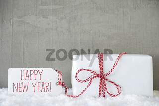 One Gift, Urban Cement Background, Text Happy New Year