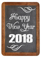 happy new year 2018 on blackboard