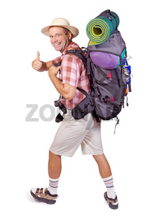 smiling hiker with thumbs up against white background