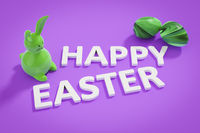happy easter bunny figure and text