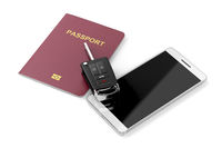 Smartphone, passport and car key