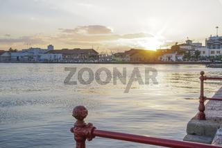 Golden hour sunset on the city port at Thessaloniki, Greece.