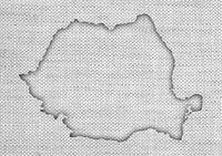 Karte von Rumänien auf altem Leinen - Map of Rumania on old linen