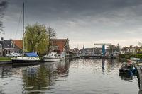 Main canal of Lemmer with old drawbridge direction Binnenhafen.