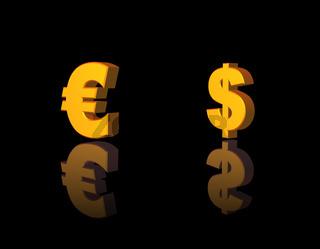 dollar und euro symbole auf schwarzem hintergrund - 3d illustration