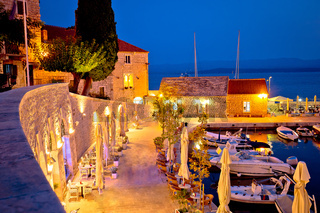 Town of Bol on Brac island waterfront at evening view