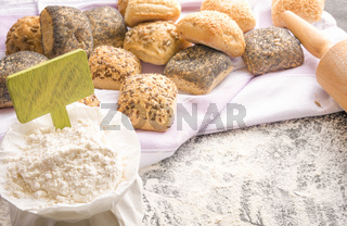 Wheat flour with banner and bread