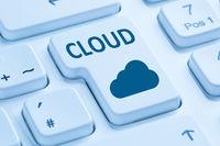 Cloud Computing Wolke online Internet Computer Tastatur blau
