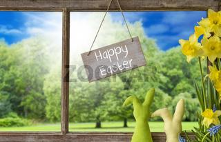 Window, Easter Bunny, Happy Easter
