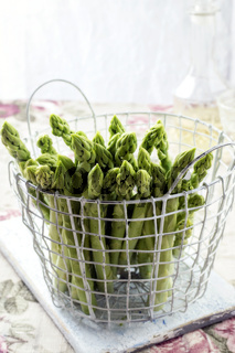 Green Asparagus in Basket