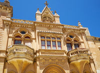 The facade of Bishop's Palace on the Pjazza San Pawl in Mdina. Malta