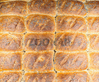 Closeup of baked rolls with poppy seeds