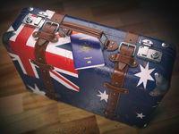 Passport of Australia and suitcase with flag of Australia. Travel or immigration concept.