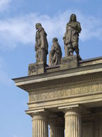 Hanover - Sculptures on the opera house, Calderon, Weber and Moliere, Germany