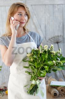 Florist girl talking on phone