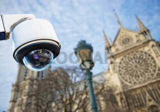 CCTV camera with church or cathedral
