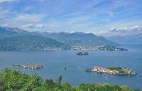 Lake Maggiore with borromean Islands,Piedmont,Italy