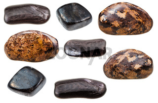 various forms of Enstatite rock isolated on white