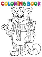 Coloring book school cat theme 1 - picture illustration.