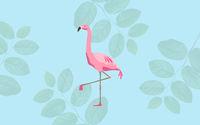 pink flamingo bird over blue background