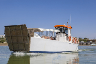 Ferry departs from El Rompido Marina, Huelva, Spain